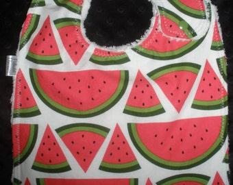 Watermelon print Side snapping Toddler Bib