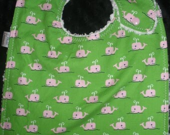 Toddler Size side snapping bib - Pink Whales on green print