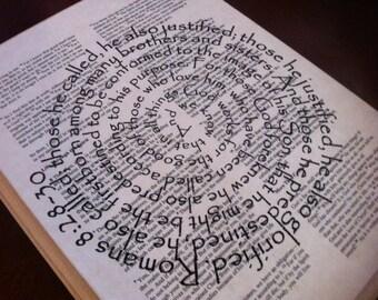 Romans 8:28-30 Spiral Scripture Bible Verse on Wood Plaque