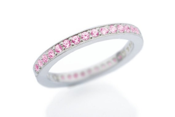 Items similar to Eternity Pink Sapphire Wedding Band. Pave ...