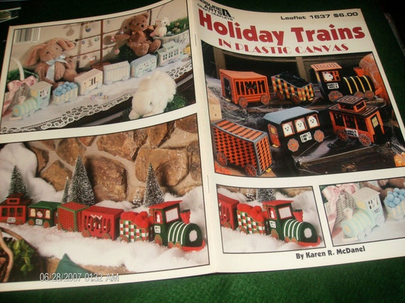 Holiday Trains in Plastic Canvas