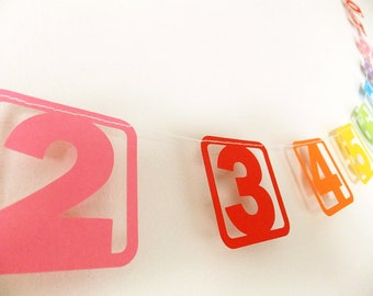 Paper Garland - Rainbow Nursery Numbers - 3ft Length