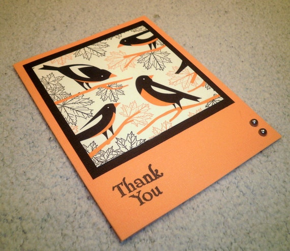 Upcycled LetterPress Hand Stamped Thank You Note Card - Melon Orange and Deep Brown/Black with Birds, Branches, Leaves
