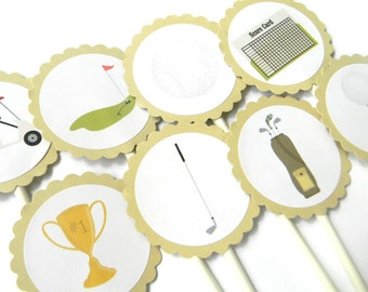 12 Golf Cupcake Toppers, Golf Theme, Dads Birthday, Country Club Party, Golf Baby Shower, Father's Day, Golf Birthday, Retirement Party