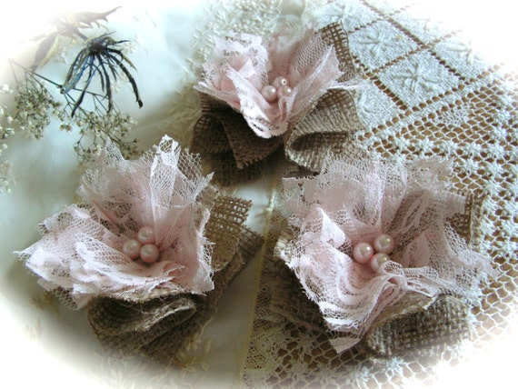 rustic shabby chic pink lace burlap flowers by mydaisy2000. Black Bedroom Furniture Sets. Home Design Ideas