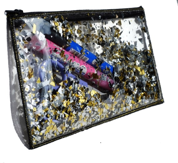 Gold Cosmetic Bag Clear Pencil Case Glitter Makeup Bag Travel