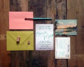 Sunset Lake Invitation Suite: Coral, Turquoise, Aqua, Lime. Vintage Postcard RSVP