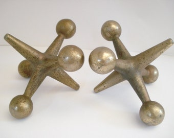Mid Century Modern Cast Iron Jacks Bookends Sculptures Nelson Eames Era Japan