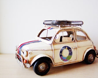 Vintage battered Fiat car miniature with stripes and stickers, metal car retro collectible miniature, large Fiat miniature, mid nineties