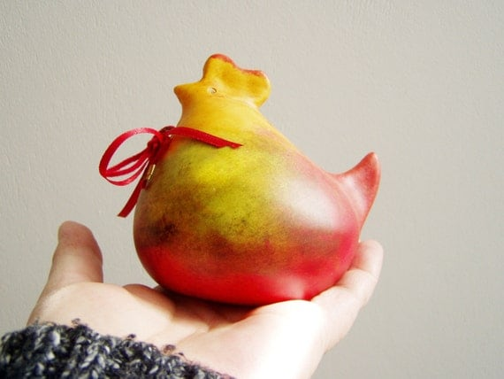 Easter hen in red yellow, ceramic chicken Easter decor