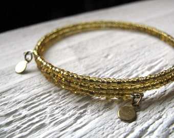 Gold Beaded Bangle with Tiny Circular Charms, Upcycled, Eco-Friendly Jewelry, Beaded Cuff Bracelet,  Gypsy Jewelry, Stacking Bracelet