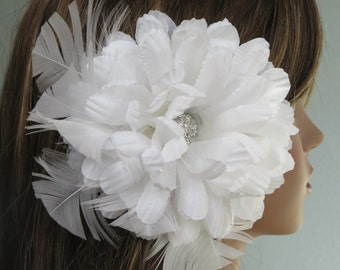 CLEARANCE White Bridal Flower Hair Clip Wedding Hair Clip  Wedding Accessory Crystals Feathers