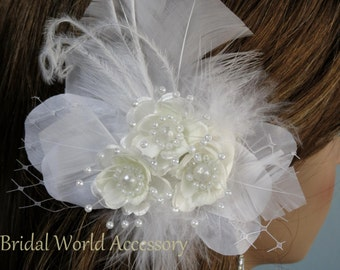 Bridal Flower Feather  Clip Wedding Hair Flower Clip Wedding Accessory Feathers Pearls