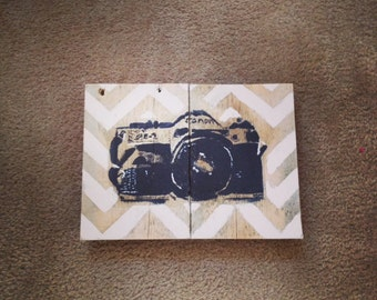 Vintage Camera painting on reclaimed wood