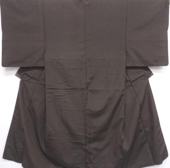 Men's Kimono Japanese Vintage / Tsumugi Silk / Woven Stripe - GIFT FOR HIM