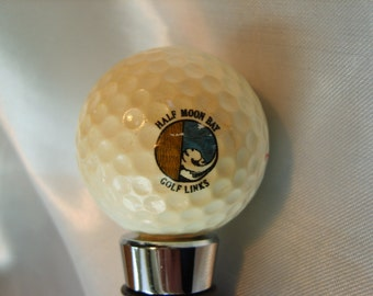 HALF MOOON BAY old Golf Ball Wine Stopper with Satin Gift Bag