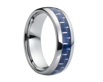 Tungsten Wedding Band,Tungsten Wedding Ring,Blue,Carbon Fiber,Anniversary Ring,Engagement Band,Handmade,Grooms Band,His,Hers,8mm