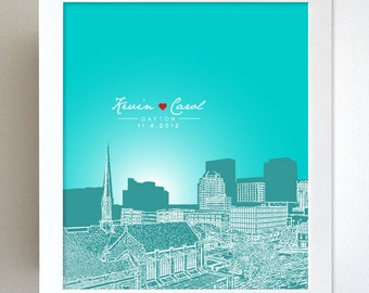 Anniversary Gift Skyline / Dayton Ohio Cityscape / Engagement Gift / Special Date / 8x10 Art Poster / Any City Available