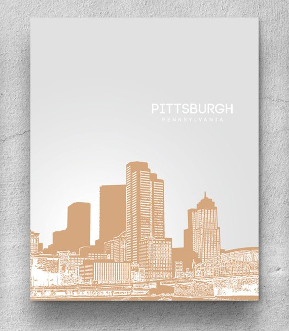 Home Decor Skyline Art / Pittsburgh Skyline Poster / Any City