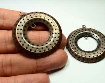 2 Pcs Copper Plated Perforated 40 mm Pendants