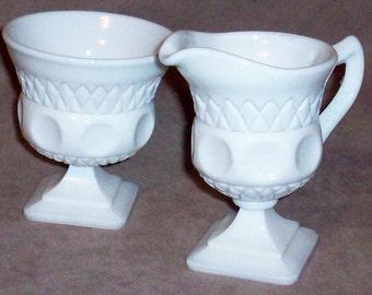 Westmoreland footed Creamer & Sugar milk glass