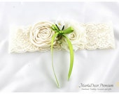 Bridal Bridesmaids Jeweled Garter Wedding Flower Lace Garter with Handmade Flowers and Calla Lily Boutonniere