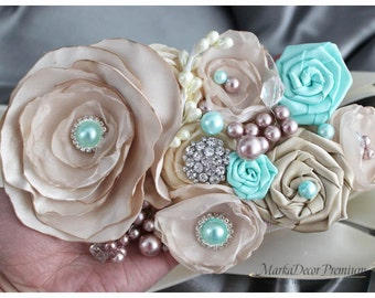 READY TO SHIP Bridal Custom Sash / Wedding Bridesmaids Belt in Ivory, Tan, Champagne, Aqua Mint with Brooches, Beads, Pearls, Jewels
