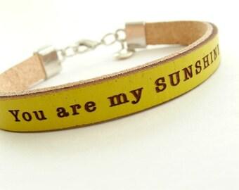 You are my Sunshine  Daily Reminder Leather wrap bracelet