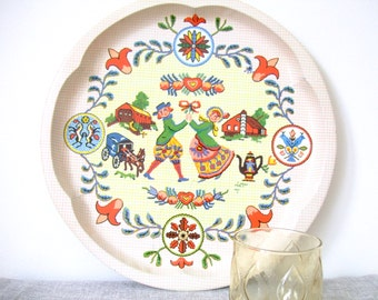 Scandinavian Folk Style Metal Tray, Daher Decorated Ware, Colourful Pattern, England
