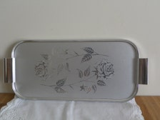 Silver rose large melamine platter plate dish