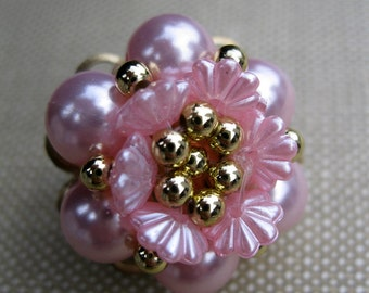 Pink Pearl Gold Bead Vintage Clip On Earrings