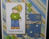OOAK handcrafted birthday card, birthday card for him , hand coloured card, childs card, little boys birthday card