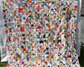 Large Unfinished quilt top from Vintage Antique fabrics Must See rare find