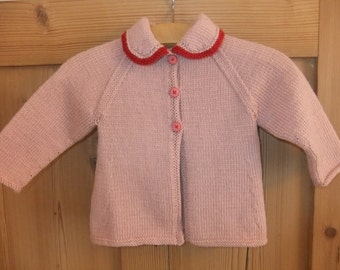 Vintage style hand knitted pink and red baby cardigan - available to order in sizes newborn, 3-6 months and 6-12 months