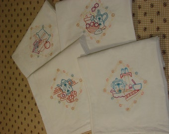 eco-friendly Vintage Inspired Embroidered Flour Sack Tea Hand Towel