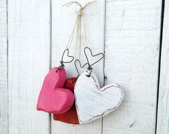Set of Three Chunky heart ornaments/ Valentine decor