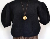 Vintage Black Mohair Sweater with Structured Sleeves