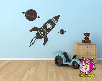 "Rocket Ship kids room, nursery vinyl wall decal graphics 36"" Rocket"
