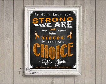Multiple Sclerosis MS Awareness Charity Chalk Typography Print Art by KayBee Studios