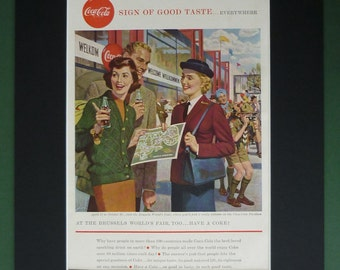 Vintage 1958 Coca-Cola Advert - Antique Original Print - Matted - Brussels World Fair - Travel - 1950s Travellers - Europe - European - Cok