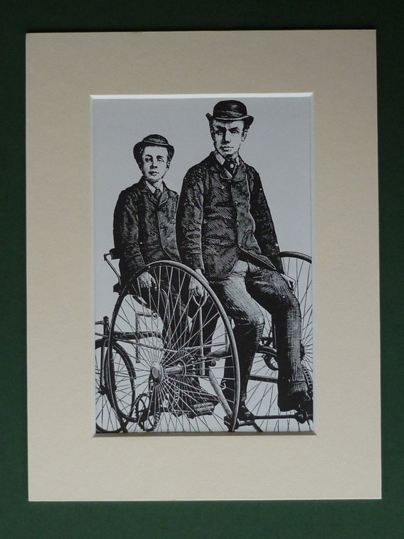 1973 print of a strange victorian tricycle wood engraving for Odd victorian names