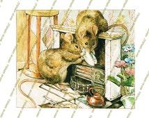 Peter Rabbit, Two bad mice, Beatrix Potter, Nursery Art Girl, Princess Nursery Decor, Children story book illustration, Digital image