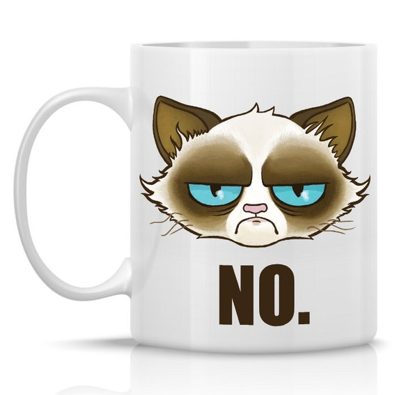 Funny Meme Coffee Mugs : Items similar to cranky cat mug no tard the