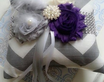 Shabby Chic Ring Pillow In Purple, Weddings, Ring Bearer Pillow, Bride, Ring Pillow, Chevron Ring Pillow