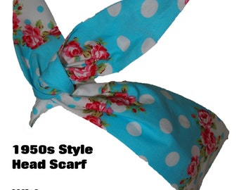 Baby Blue Polka Dot & Rose Rockabilly Head Scarf With or Without Wire - Floral Flower 1950s Bandana Hair Tie Pin Up Girl Vintage
