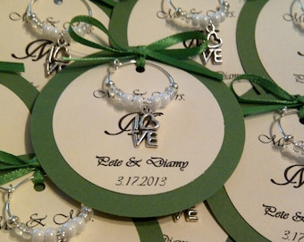 Special Order for Staci - Custom Hearts and Love Wine Charm Favors (75)