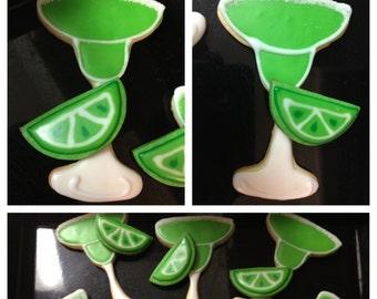 Margarita decorated sugar cookies