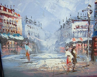 Original oil painting Paris or French street scene palette knife technique mid century