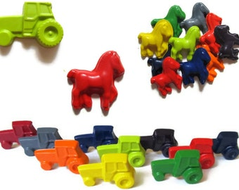 Horse and Tractor Crayons set of 40 - party favors - farm crayons