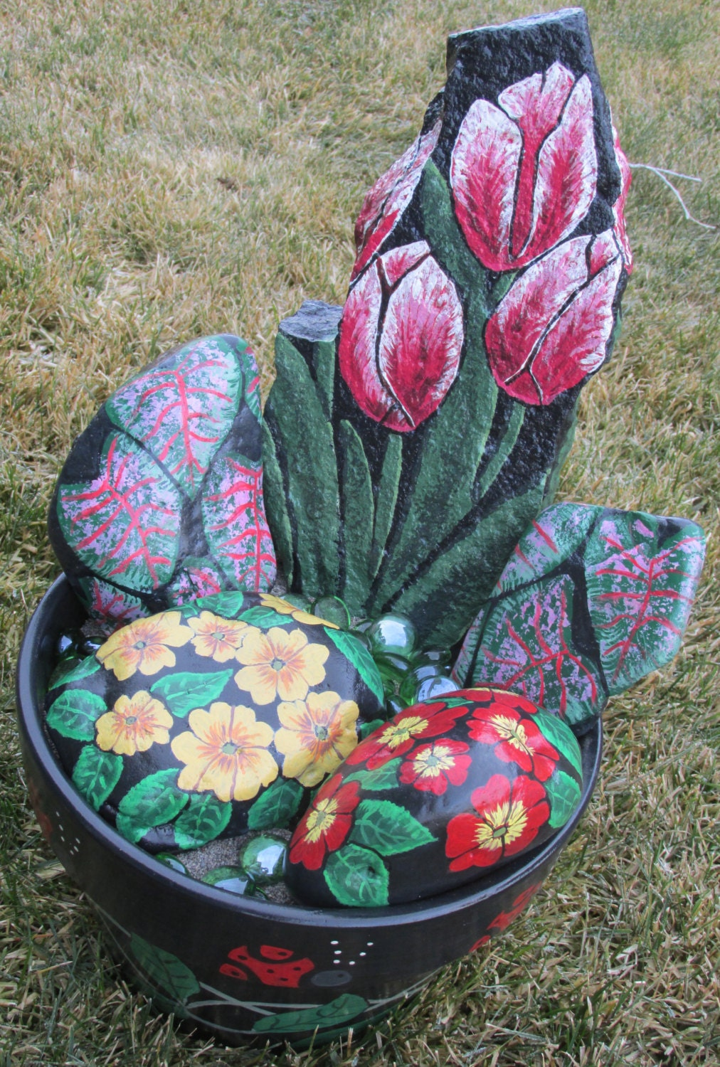 Rock Flower Planter Hand Painted Rocks Ceramic Pot Tulips